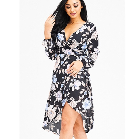 Story On Dresses Plus Size Long Sleeve Floral High Low Wrap Dress